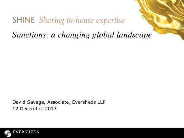 SHINE webinar - Sanctions: a changing global landscape