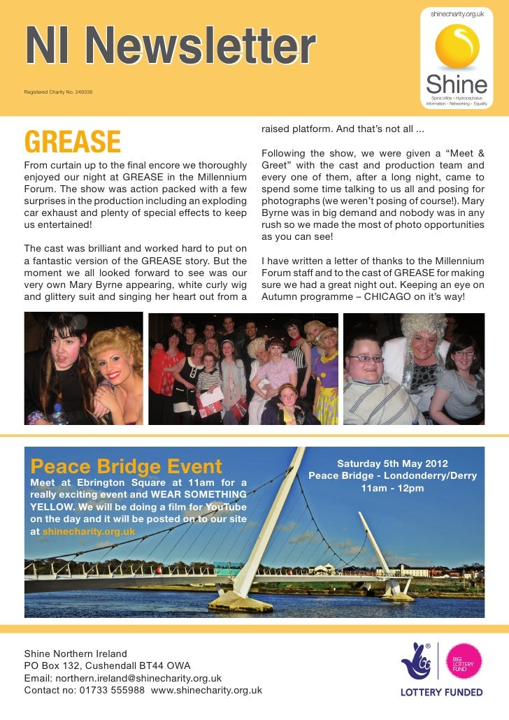 NI NewsletterRegistered Charity No. 249338GREASE                                                     raised platform. And ...