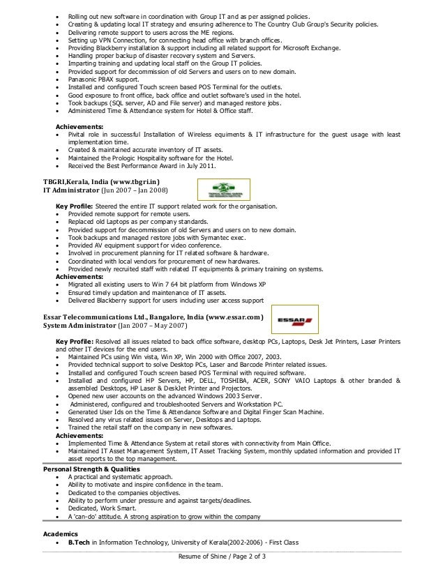 shine  it professional with hospitality experience  resume