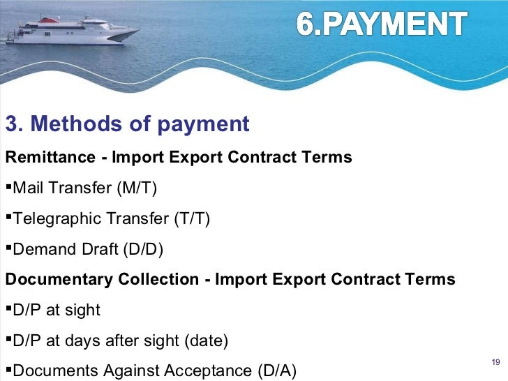 International sale contract – Export Contract