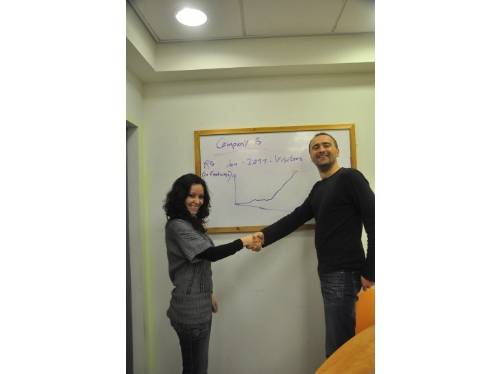Company B  2011 Release 5, 20 features  Visitors graph very high     Picture of Dmitri shaking hands with Happy customer