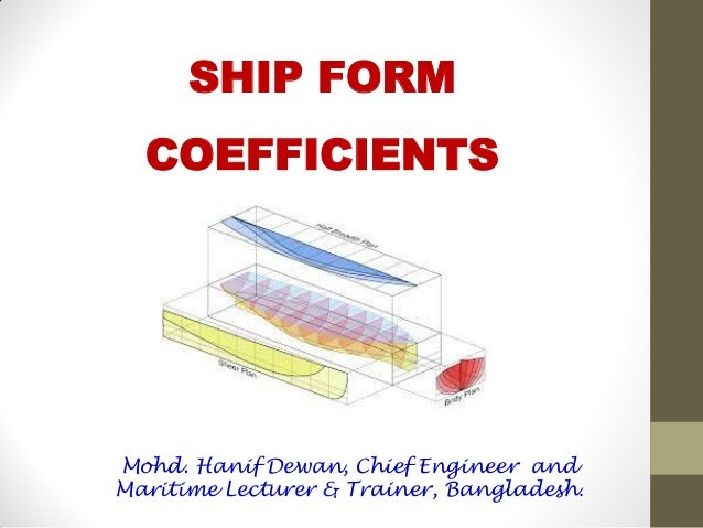 SHIP FORM COEFFICIENTS Mohd. Hanif Dewan, Chief Engineer and Maritime Lecturer & Trainer, Bangladesh.