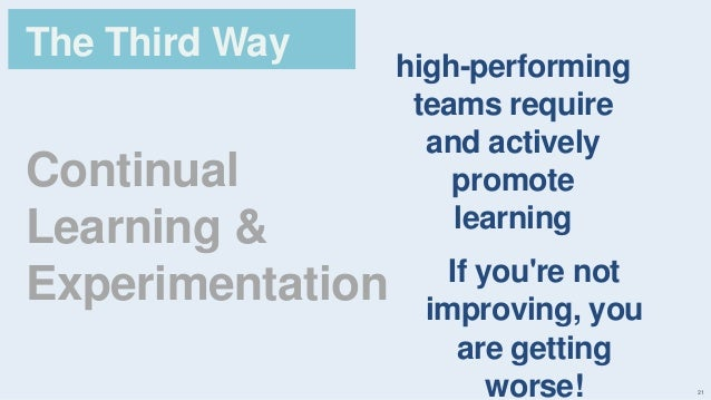 21 Continual Learning & Experimentation The Third Way high-performing teams require and actively promote learning If you'r...