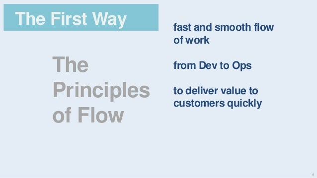 6 The Principles of Flow The First Way fast and smooth flow of work from Dev to Ops to deliver value to customers quickly