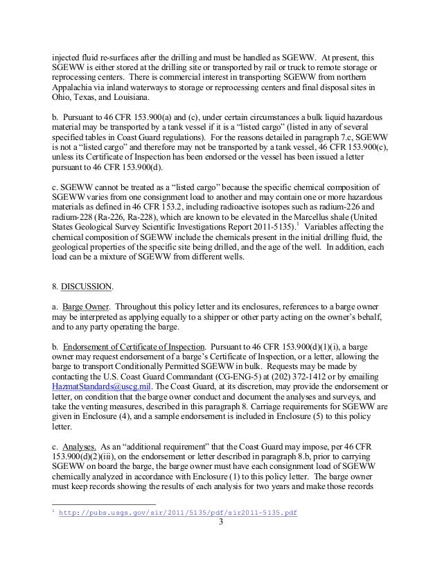 US Coast Guard Policy Letter to Allow Barge Shipment of