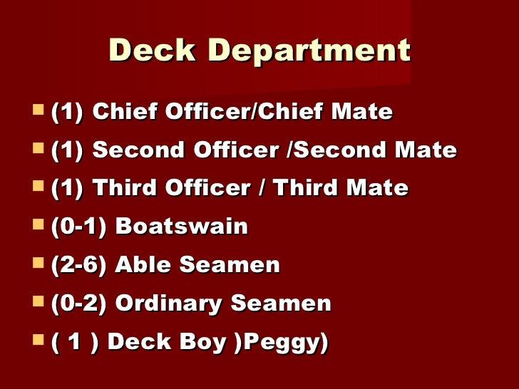Deck Department <ul><li>(1) Chief Officer/Chief Mate  </li></ul><ul><li>(1) Second Officer /Second Mate  </li></ul><ul><li...