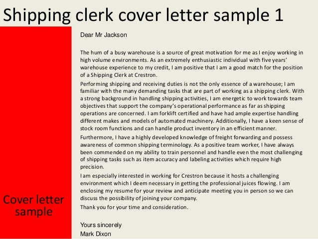 Perfect Shipping Clerk Cover Letter