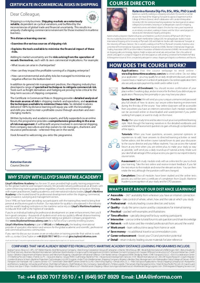 Certificate in commercial risks in shipping by lloyds maritime academy colourmoves Images