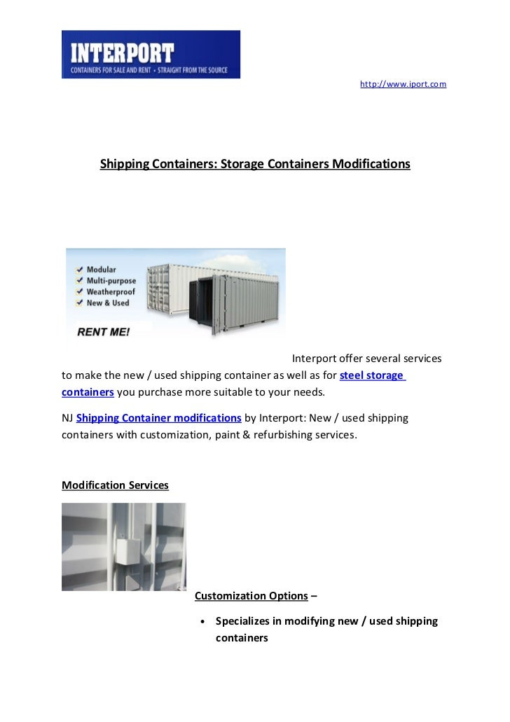 http://www.iport.com       Shipping Containers: Storage Containers Modifications                                          ...