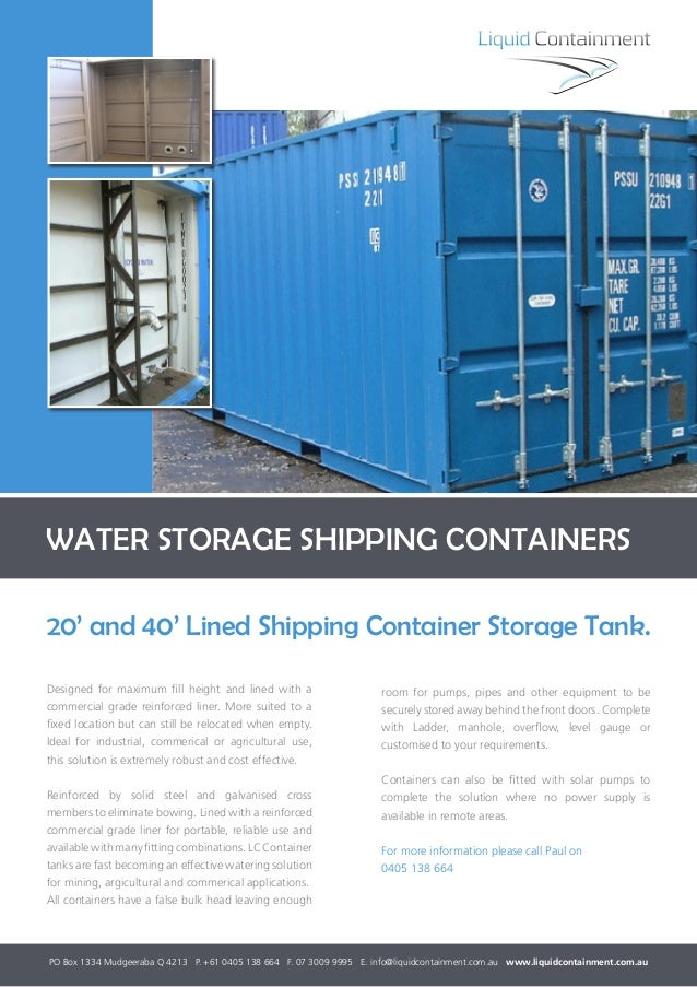 Shipping container water storage
