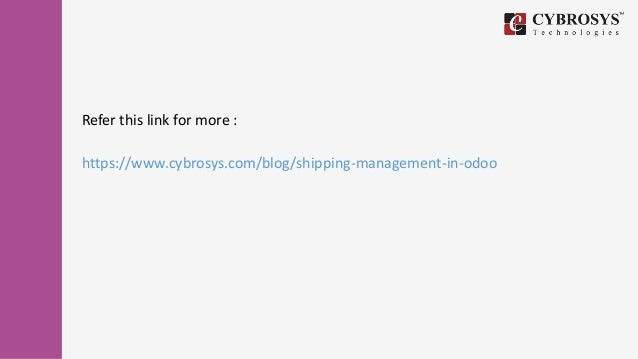 Shipping management in odoo