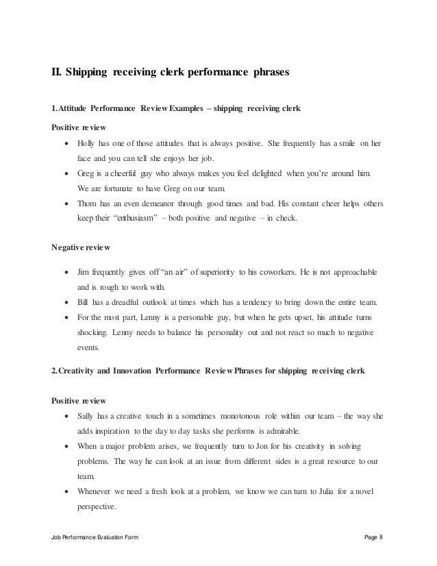 Shipping receiving clerk perfomance appraisal 2 – Receiving Manager Job Description