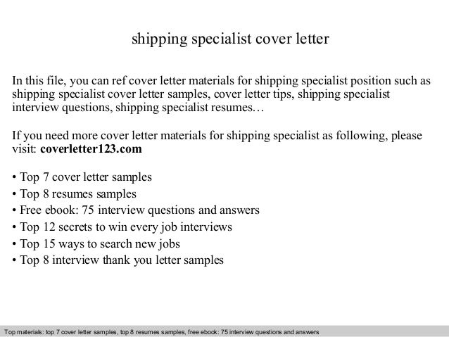 Shipping Specialist Cover Letter In This File, You Can Ref Cover Letter  Materials For Shipping ...