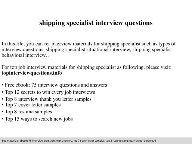 Shipping Specialist Interview Questions In This File, You Can Ref Interview  Materials For Shipping Specialist ...