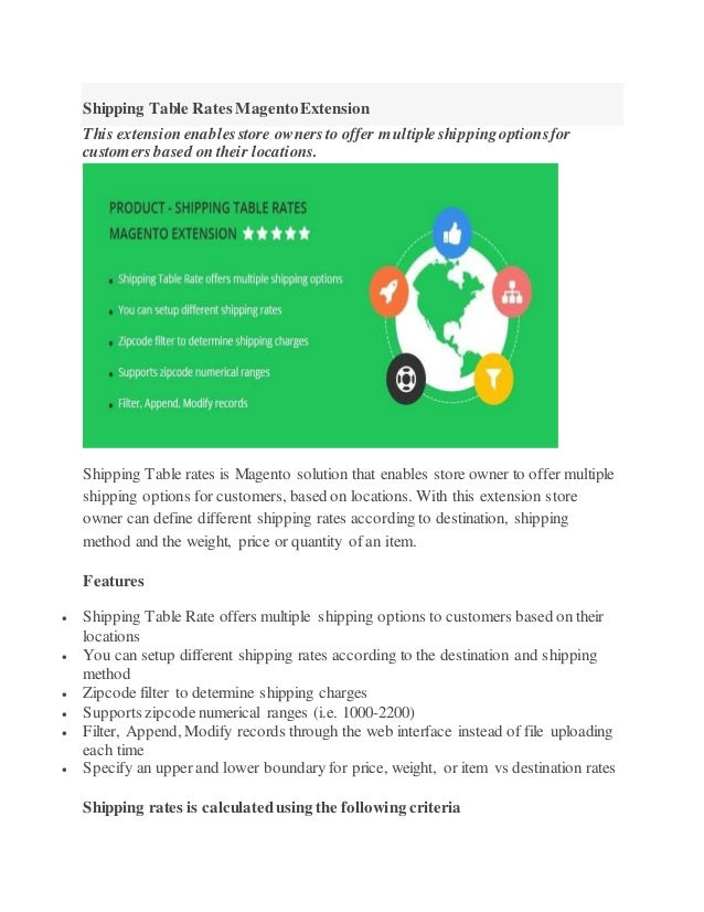 Shipping Table Rates MagentoExtension This extension enablesstore owners to offer multipleshippingoptionsfor customers bas...