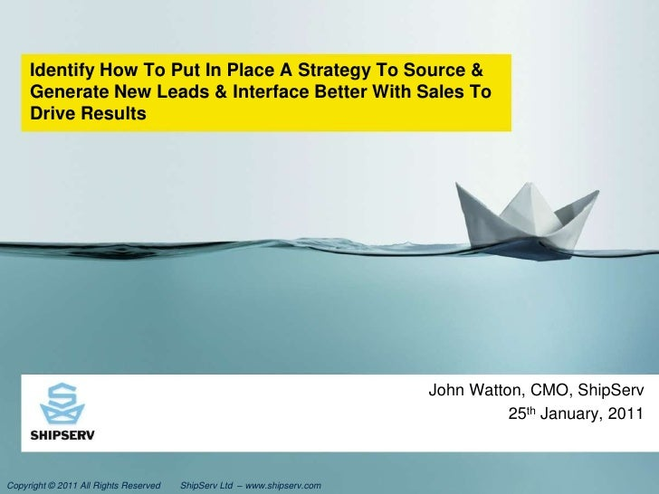 Identify How To Put In Place A Strategy To Source & Generate New Leads & Interface Better With Sales To Drive Results<br /...