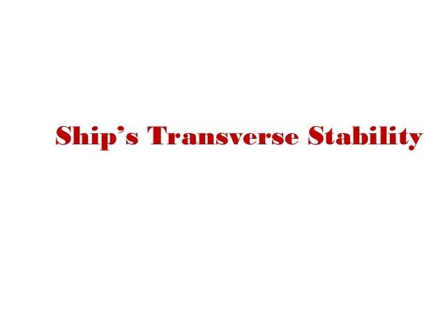Ship's Transverse Stability