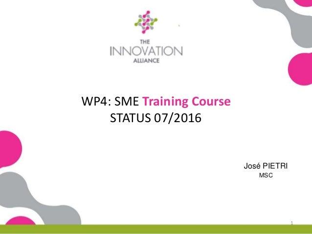 WP4: SME Training Course STATUS 07/2016 José PIETRI MSC 1