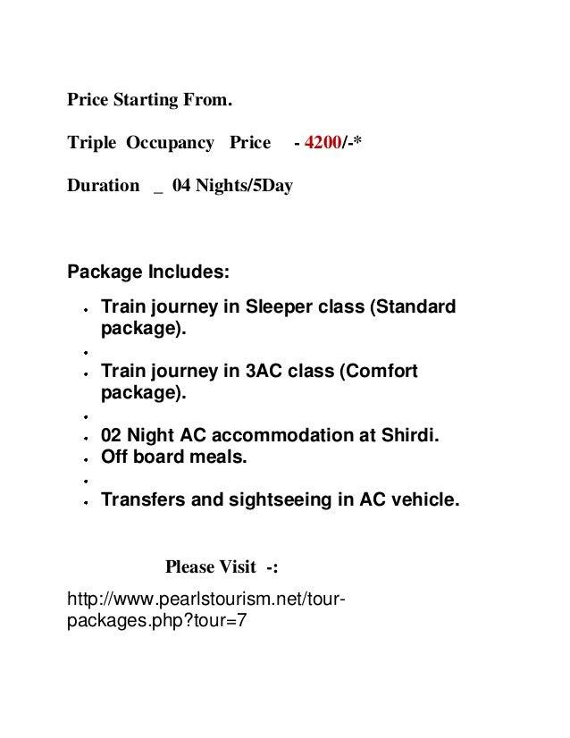 Rail Tour Packages For Shirdi