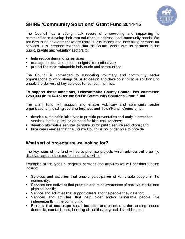 SHIRE 'Community Solutions' Grant Fund 2014-15 The Council has a strong track record of empowering and supporting its comm...