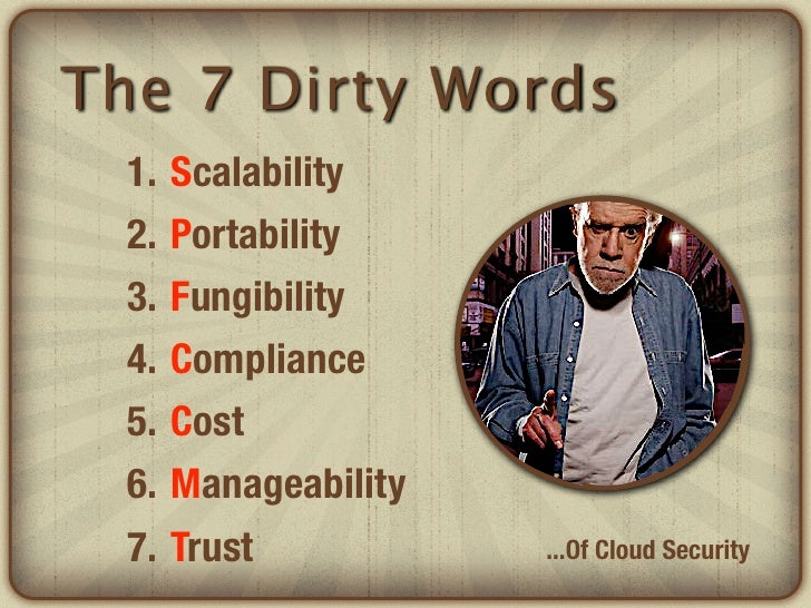 The 7 Dirty Words  1.   Scalability  2.   Portability  3.   Fungibility  4.   Compliance  5.   Cost  6.   Manageability  7...