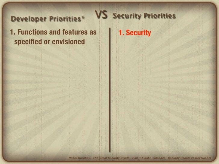 Developer Priorities*              VS           Security Priorities1. Functions and features as                        1. ...