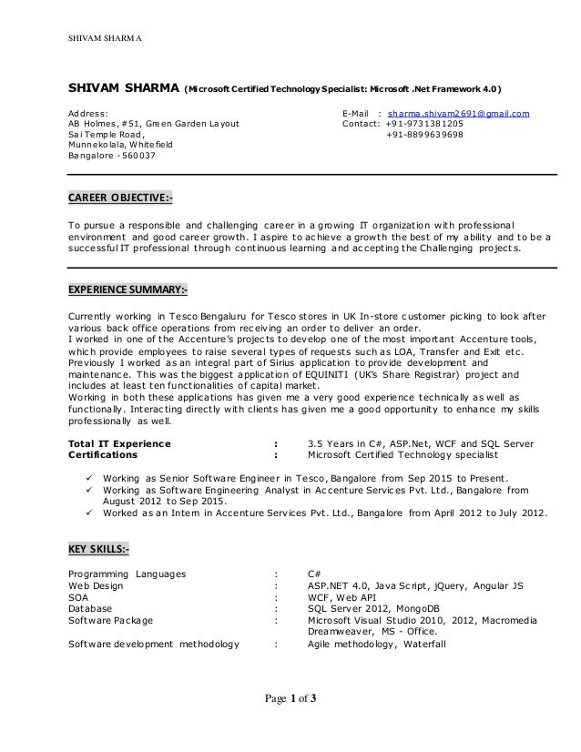 shivam sharma resume net developer