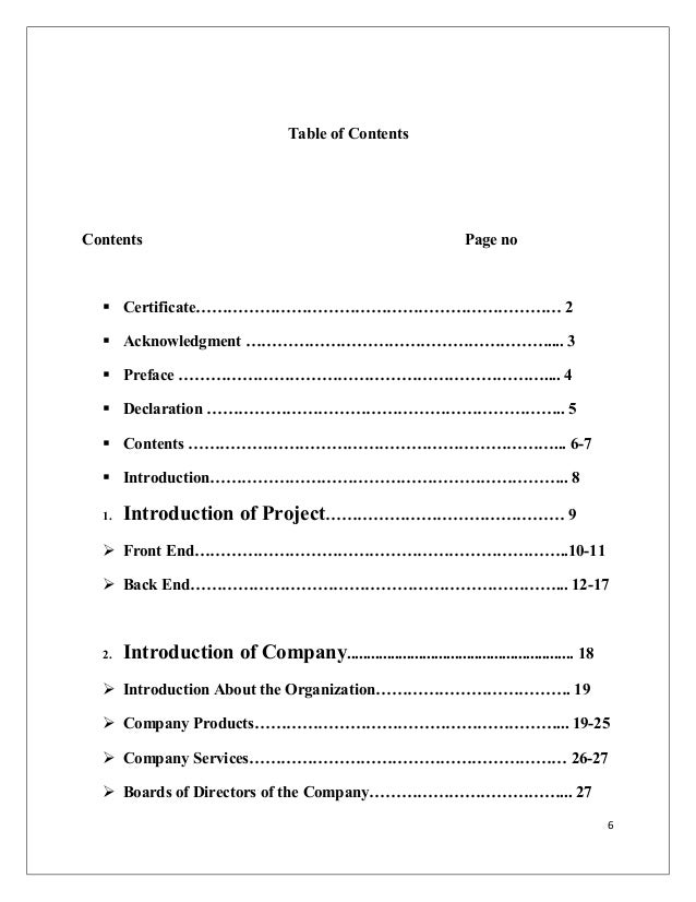 Table of Contents Contents Page no  Certificate…………………………………………………………… 2  Acknowledgment ………………………………………………….... 3  Pre...