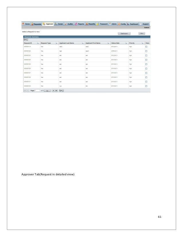 Approver Tab(Request in detailed view) 61