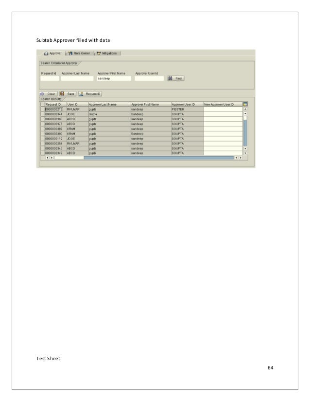 Subtab Approver filled with data Test Sheet 64