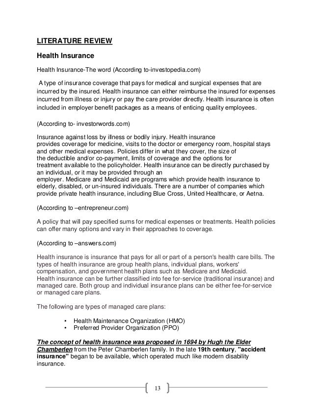 health policy literature review