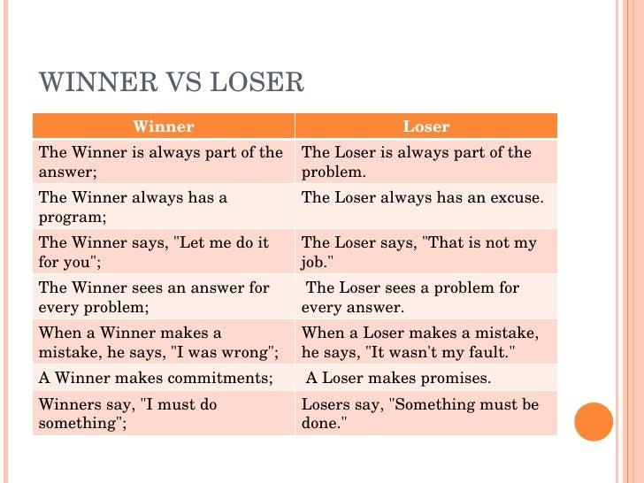 WINNERVSLOSER             Winner                              Loser TheWinnerisalwayspartofthe TheLoserisalway...