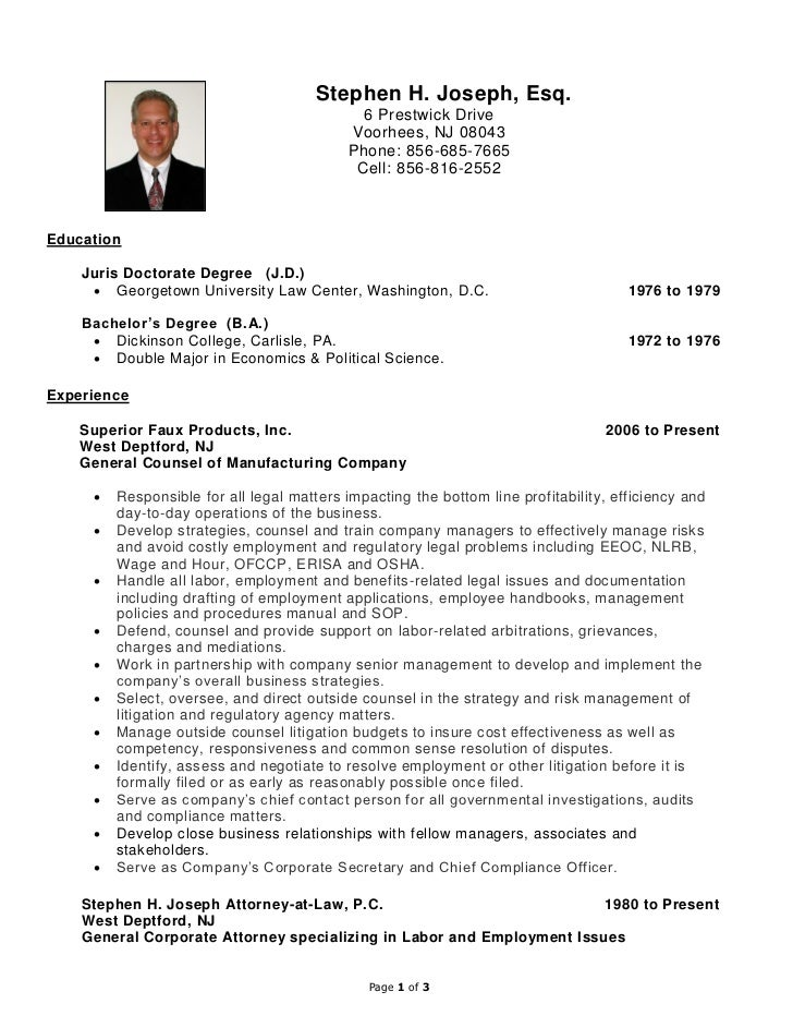 Stephen h joseph resume labor and employment for Cover letter for in house counsel position