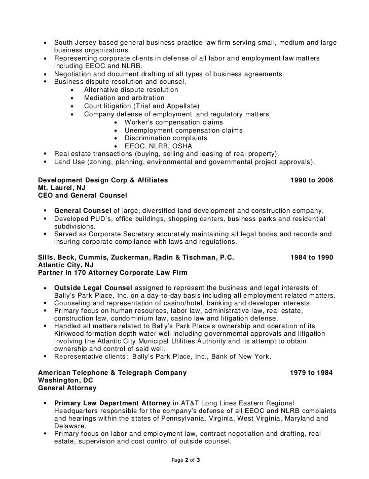 law firm partner resume
