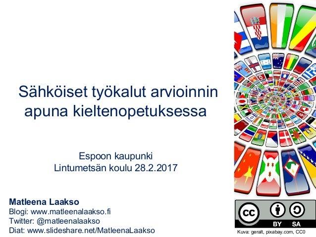 Matleena Laakso Blogi: www.matleenalaakso.fi Twitter: @matleenalaakso Diat: www.slideshare.net/MatleenaLaakso Sähköiset ty...