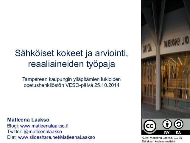 Sähköiset kokeet ja arviointi,  reaaliaineiden työpaja  Tampereen kaupungin ylläpitämien lukioiden  opetushenkilöstön VESO...