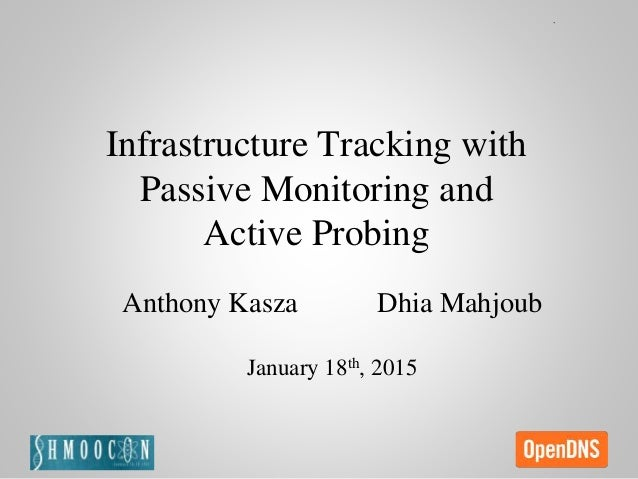 Infrastructure Tracking with Passive Monitoring and Active Probing Anthony Kasza Dhia Mahjoub January 18th, 2015