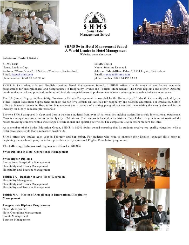 SHMS Swiss Hotel Management School                                                   A World Leader in Hotel Management   ...