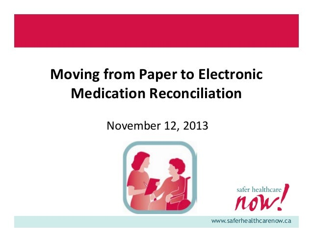 Moving from Paper to Electronic Medication Reconciliation November 12, 2013  www.saferhealthcarenow.ca