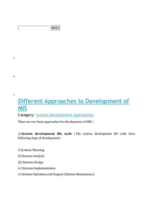 SearchHOMETECHNOLOGY MOTIVATIONARTICLEDifferent Approaches to Development ofMISCategory: System Development ApproachesTher...