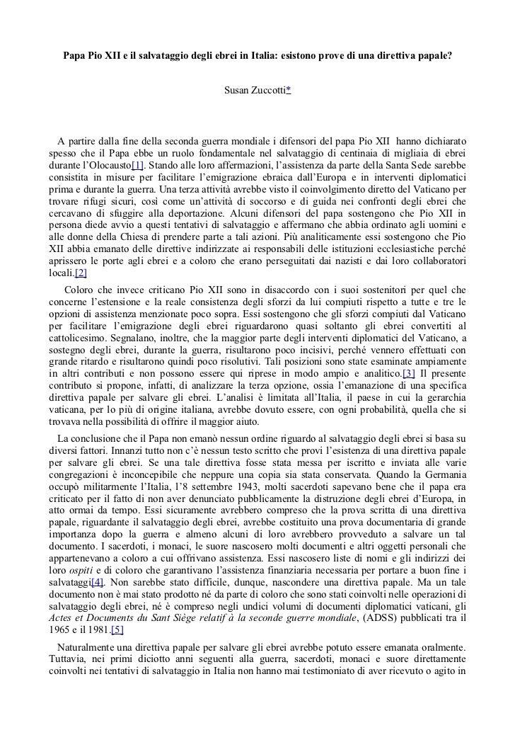 Papa Pio XII e il salvataggio degli ebrei in Italia: esistono prove di una direttiva papale?                              ...
