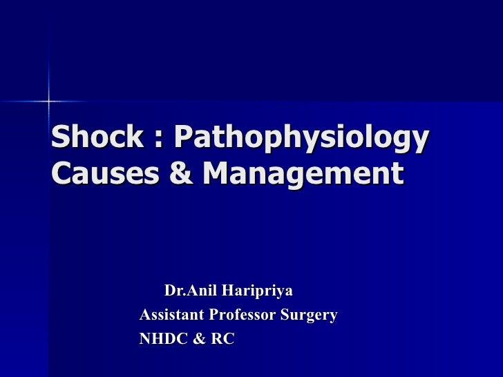 Shock : Pathophysiology Causes & Management Dr.Anil Haripriya Assistant Professor Surgery NHDC & RC