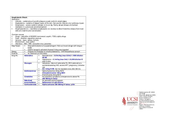 Anaphylactic ShockDefinitions     Urticaria – oedematous & pruritic plaques w pale centre & raised edges     Angioedema – ...