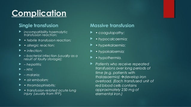 massive blood transfusion complications pdf