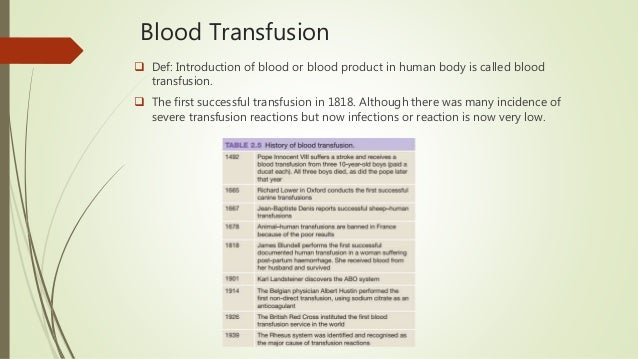 Blood Transfusion  Def: Introduction of blood or blood product in human body is called blood transfusion.  The first suc...