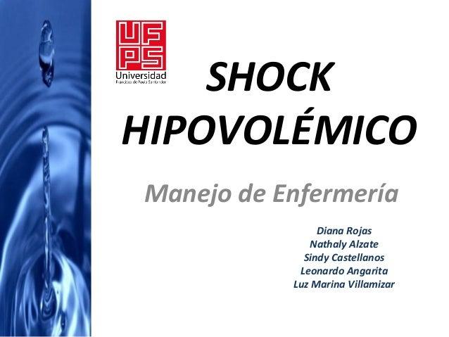 SHOCKHIPOVOLÉMICOManejo de Enfermería                Diana Rojas              Nathaly Alzate             Sindy Castellanos...