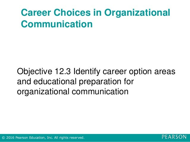 Career Choices in Organizational Communication Objective 12.3 Identify career option areas and educational preparation for...