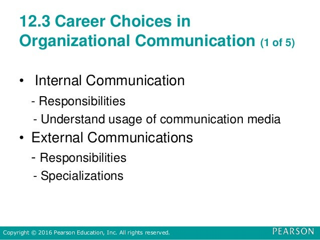 12.3 Career Choices in Organizational Communication (1 of 5) • Internal Communication - Responsibilities - Understand usag...