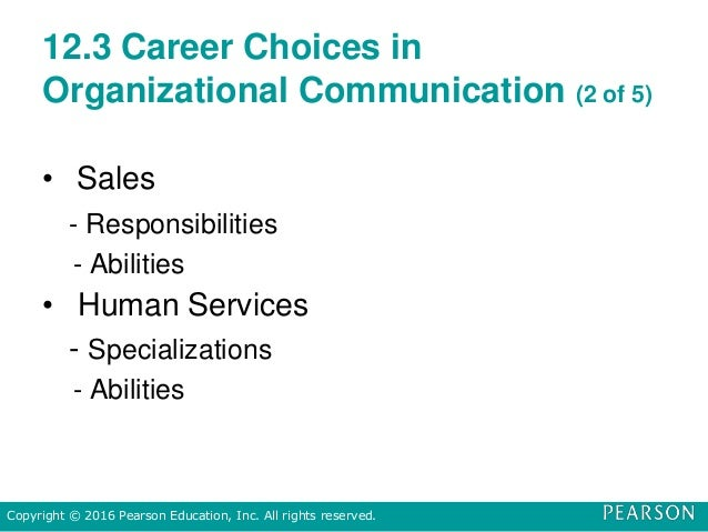 12.3 Career Choices in Organizational Communication (2 of 5) • Sales - Responsibilities - Abilities • Human Services - Spe...