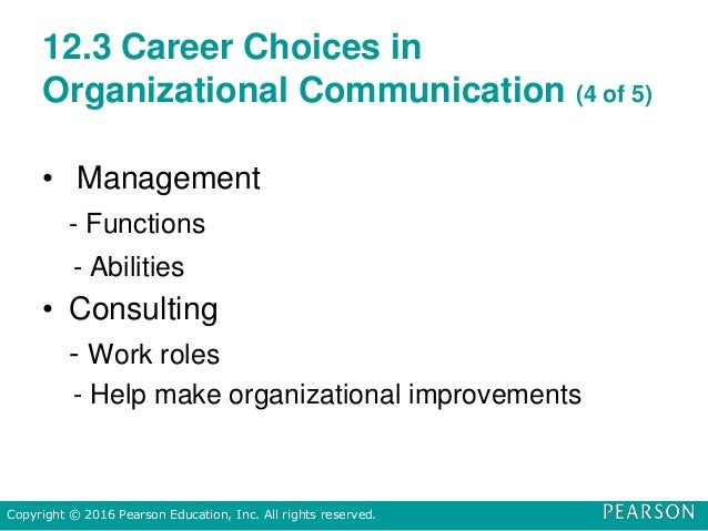 12.3 Career Choices in Organizational Communication (4 of 5) • Management - Functions - Abilities • Consulting - Work role...
